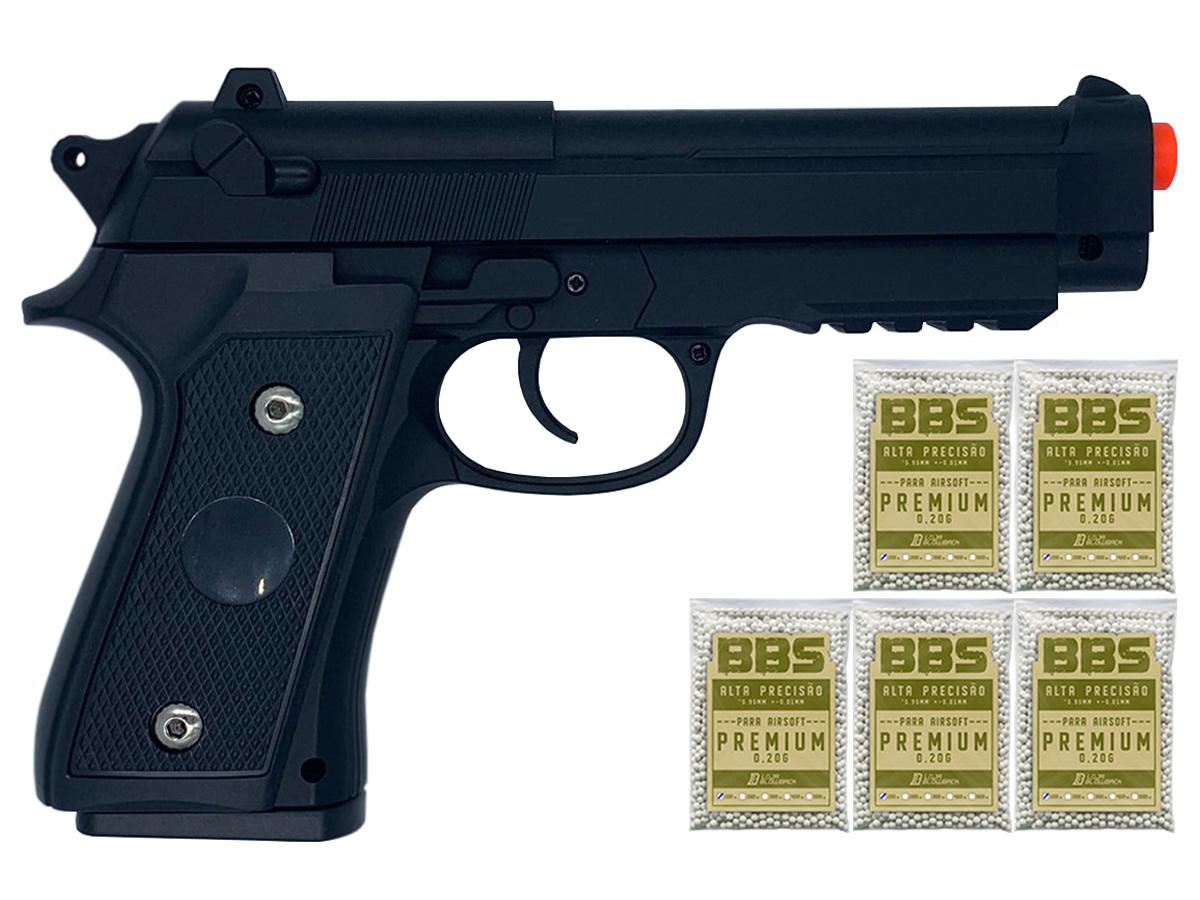 Pistola Airsoft Pt92 V22 Full Metal Spring 6mm + 5000 Bbs 0,20g loja Blowback