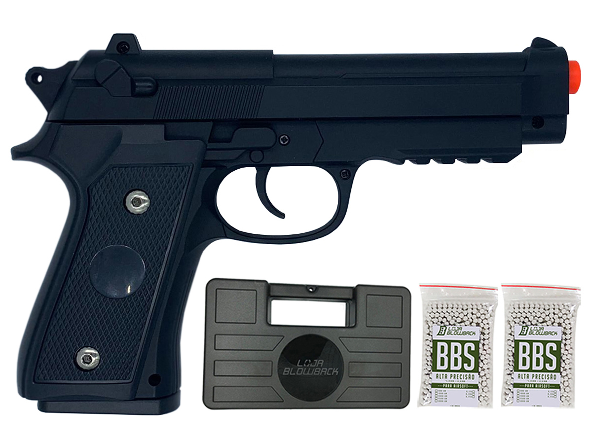 Pistola Airsoft Pt92 V22 Full Metal Spring 6mm + 2000 Bbs 0,12g loja Blowback + Maleta