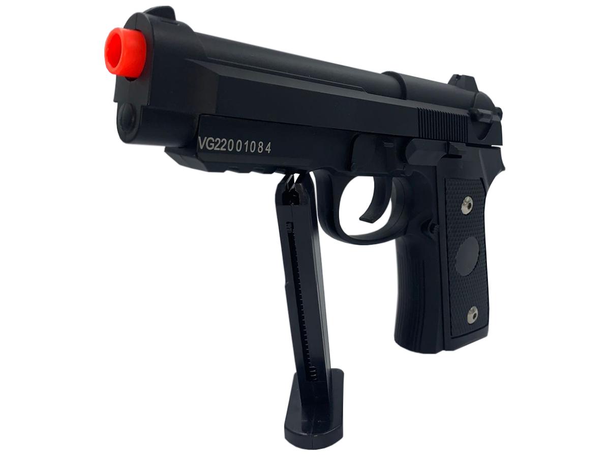 Pistola Airsoft Pt92 V22 Full Metal Spring 6mm + 3000 Bbs 0,12g loja Blowback + Maleta + Coldre velado