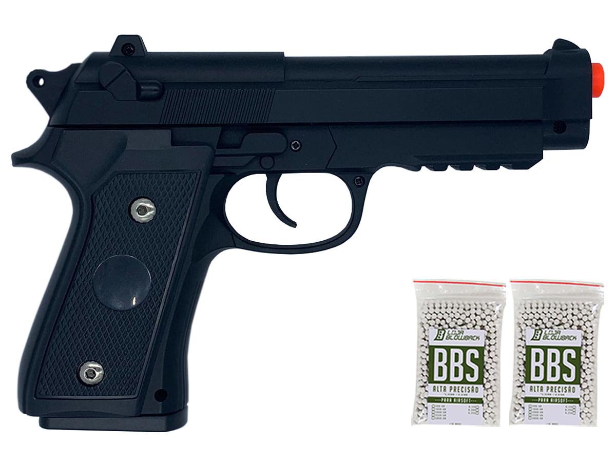 Pistola Airsoft Pt92 V22 Full Metal Spring 6mm + 2000 Bbs 0,12g loja Blowback