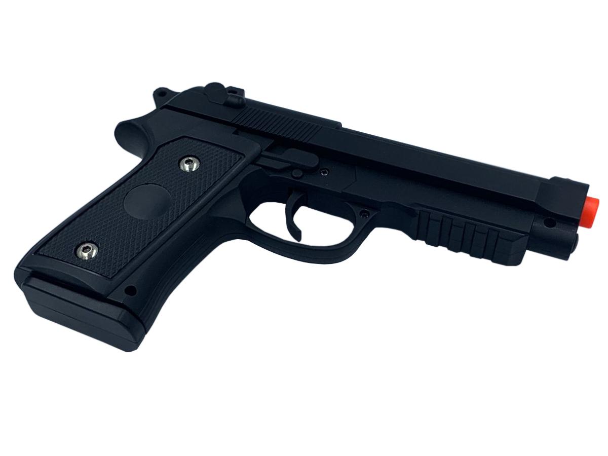 Pistola Airsoft Pt92 V22 Full Metal Spring 6mm + 3000 Bbs 0,12g loja Blowback + Maleta +  Coldre robocop