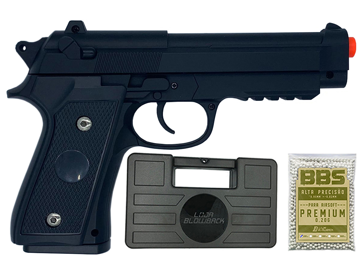 Pistola Airsoft Pt92 V22 Full Metal Spring 6mm + 1000 Bbs 0,20g loja Blowback + Maleta