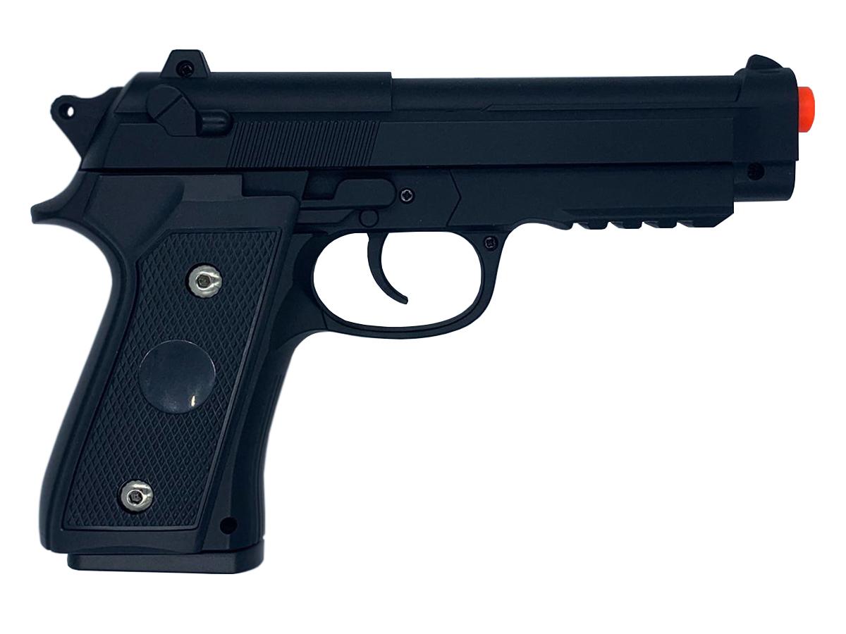 Pistola Airsoft Pt92 V22 Full Metal Spring 6mm + 2000 Bbs 0,20g loja Blowback + Maleta + Coldre velado