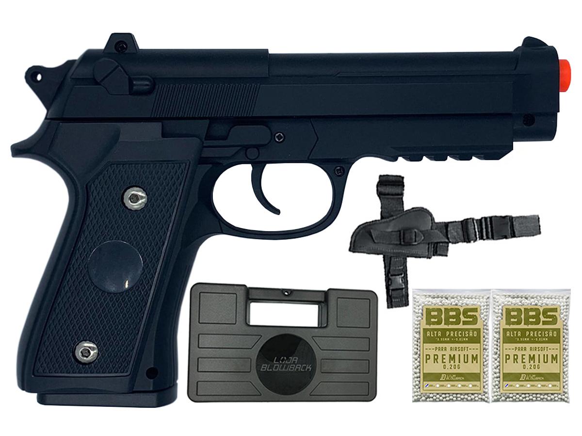 Pistola Airsoft Pt92 V22 Full Metal Spring 6mm + 2000 Bbs 0,20g loja Blowback + Maleta + Coldre robocop