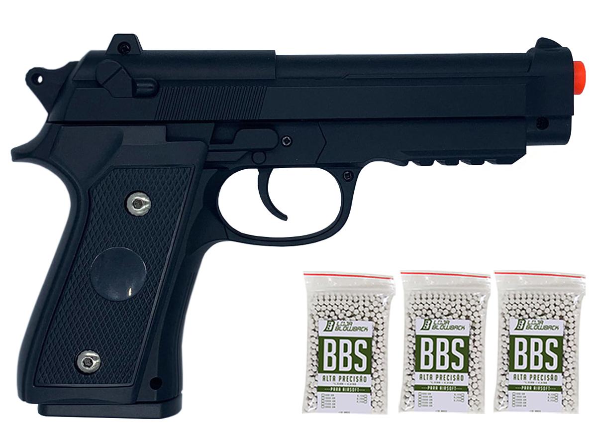 Pistola Airsoft Pt92 V22 Full Metal Spring 6mm + 3000 Bbs 0,12g loja Blowback
