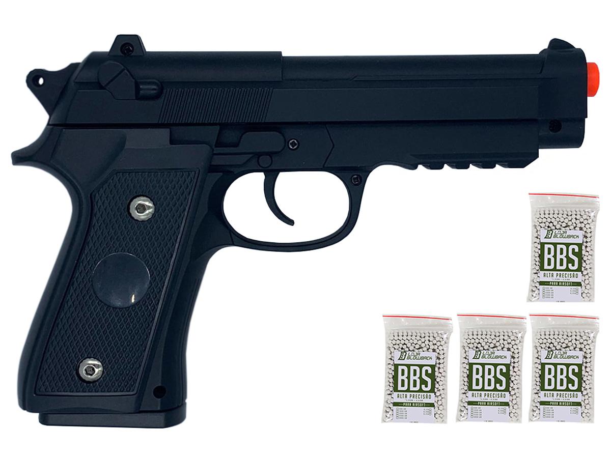 Pistola Airsoft Pt92 V22 Full Metal Spring 6mm + 4000 Bbs 0,12g loja Blowback
