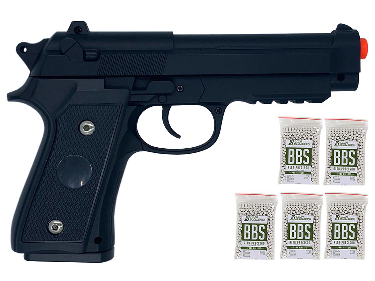 Pistola Airsoft Pt92 V22 Full Metal Spring 6mm + 5000 Bbs 0,12g loja Blowback