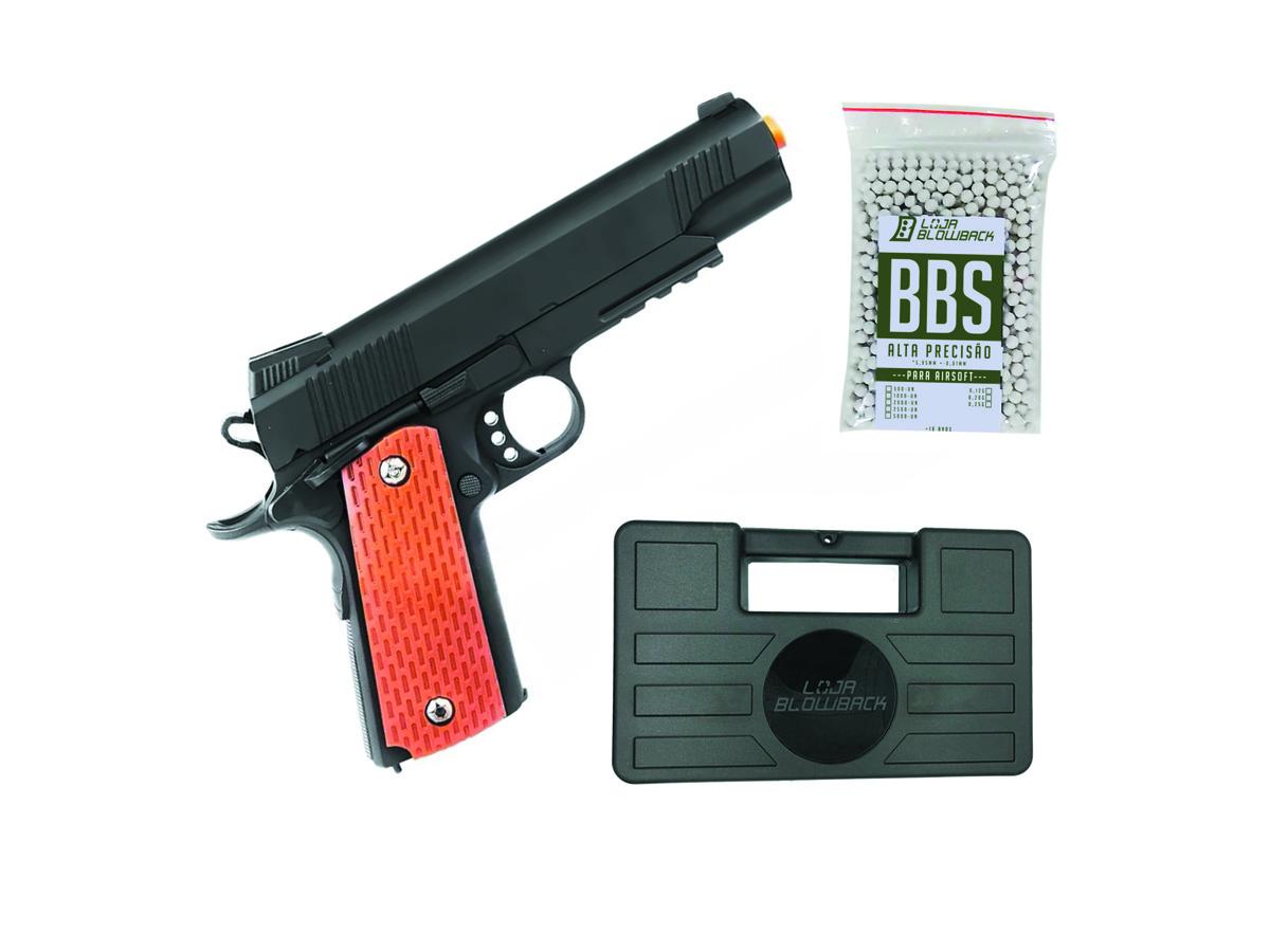 Pistola Airsoft Slide Metal 1911 Spring Gk V13 6mm + 1000 Bbs + Maleta