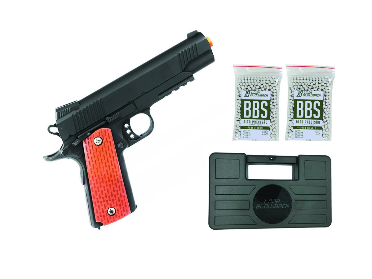 Pistola Airsoft Slide Metal 1911 Spring Gk V13 6mm + 2000 Bbs + Maleta