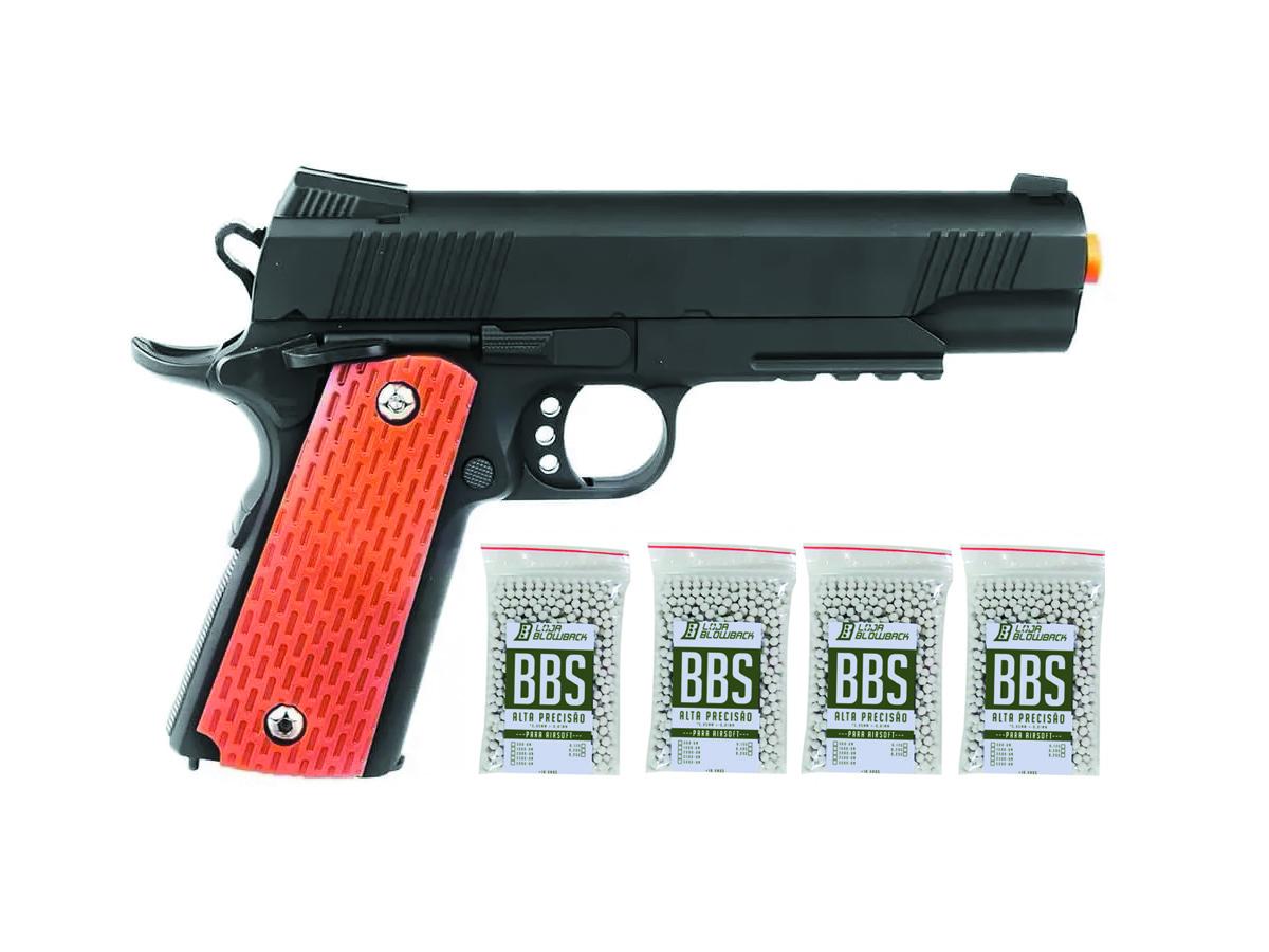 Pistola Airsoft  Slide Metal 1911 Spring Gk V13 6mm + 4000 Bbs