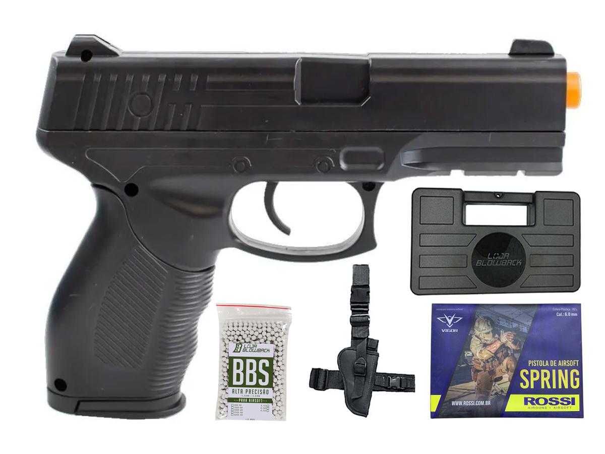 Pistola Airsoft Spring 24/7 V310 + 1000 Bbs 0,12g loja Blowback + Coldre robocop + Maleta loja Blowback
