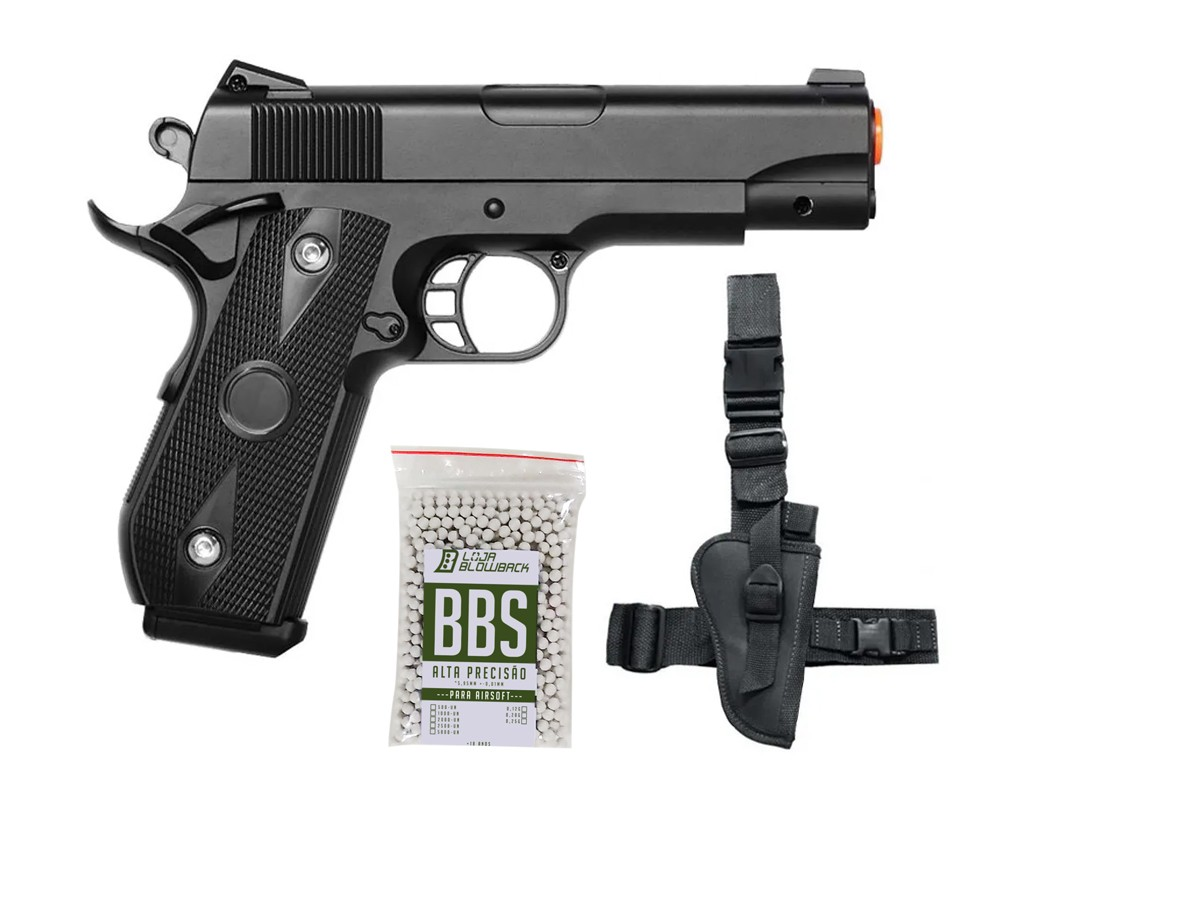 Pistola de airsoft 1911 full metal V9 vigor 6mm + coldre robocop + 1000 Bbs