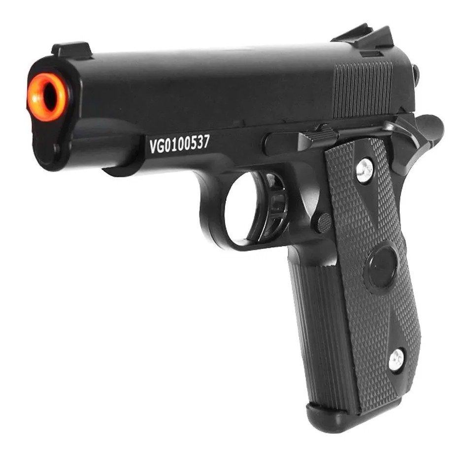 Pistola de airsoft 1911 full metal V9 vigor 6mm + coldre robocop + maleta + 1000 bbs