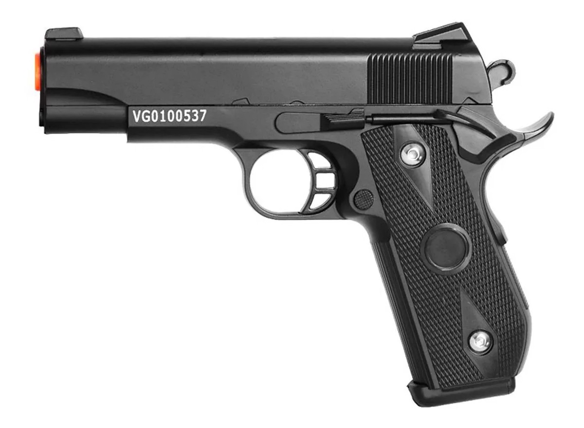 Pistola de airsoft 1911 full metal V9 vigor 6mm + coldre velado + maleta + 1000 bbs