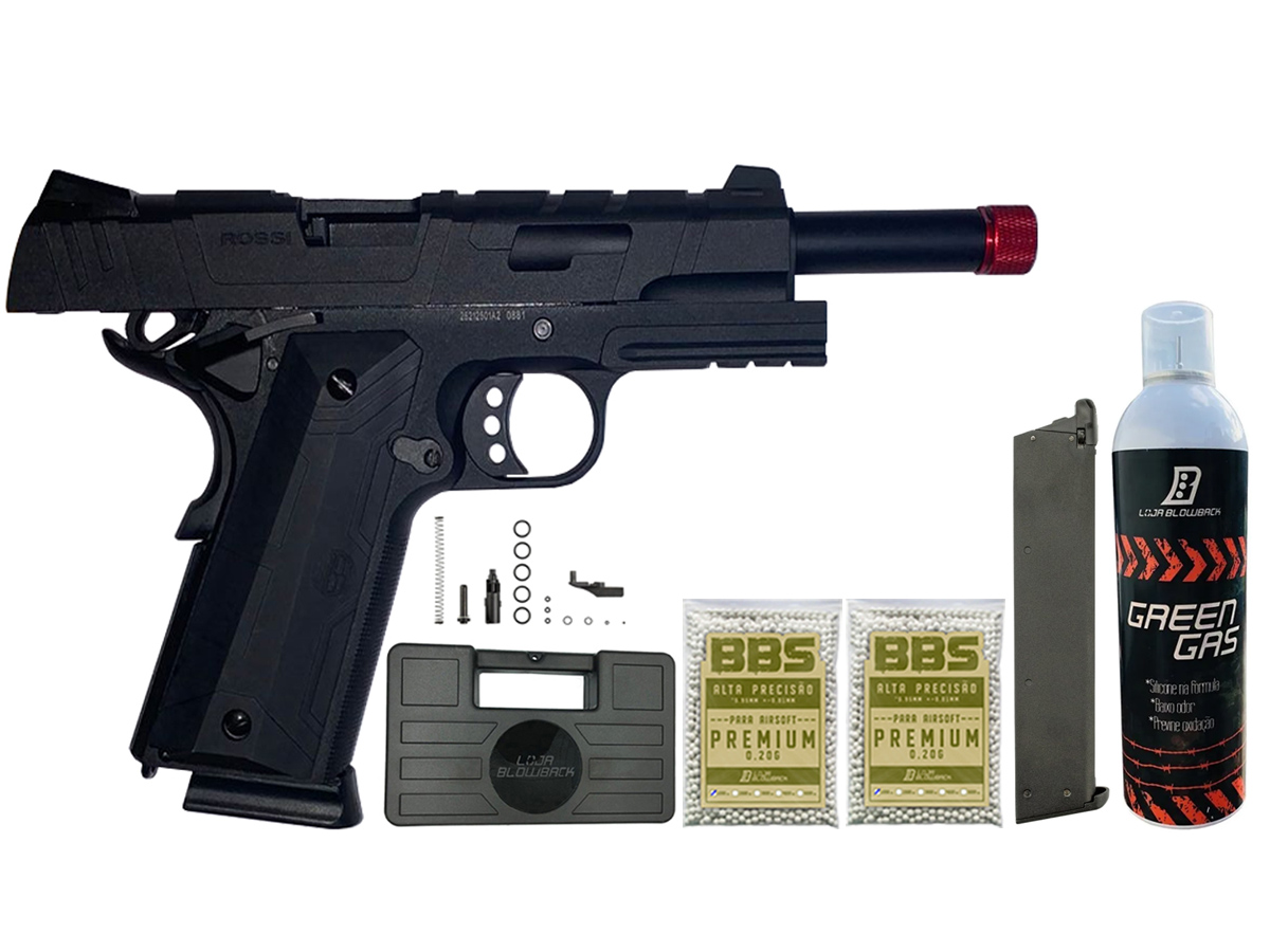 Pistola de Airsoft 1911 Gbb Slide Metal C/ Blowback Rossi 6mm + Green Gás loja Blowback + 2000 Bbs 0,20g loja Blowback + Magazine extra P/ 1911 Rossi Green Gás + Maleta