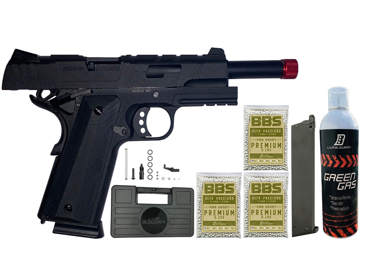 Pistola de Airsoft 1911 Gbb Slide Metal C/ Blowback Rossi 6mm + Green Gás loja Blowback + 3000 Bbs 0,20g loja Blowback + Magazine extra P/ 1911 Rossi Green Gás + Maleta
