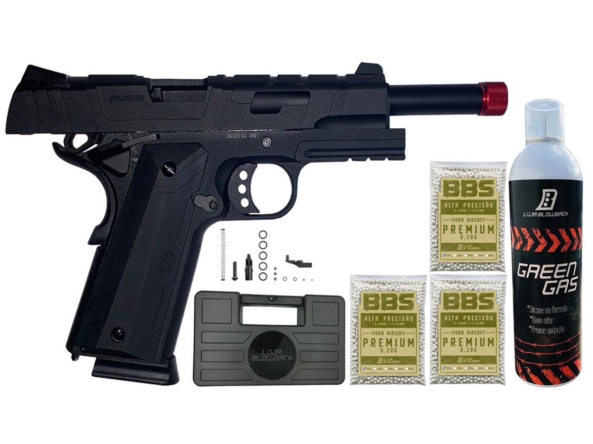 Pistola de Airsoft 1911 Gbb Slide Metal C/ Blowback Rossi 6mm + Green Gás loja Blowback + 3000 Bbs 0,20g loja Blowback + Maleta - 6 mm - Preto