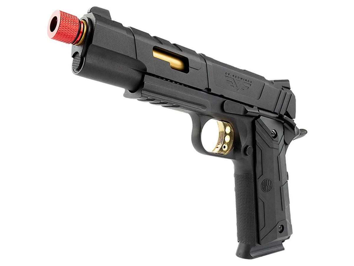 Pistola de Airsoft 1911 Slide Metal Gbb Gold C/ Blowback Rossi 6mm + Green Gás loja Blowback + Magazine extra P/ 1911 Rossi Green Gás + 3000 Bbs 0,20g loja Blowback + Maleta + Coldre Robocop