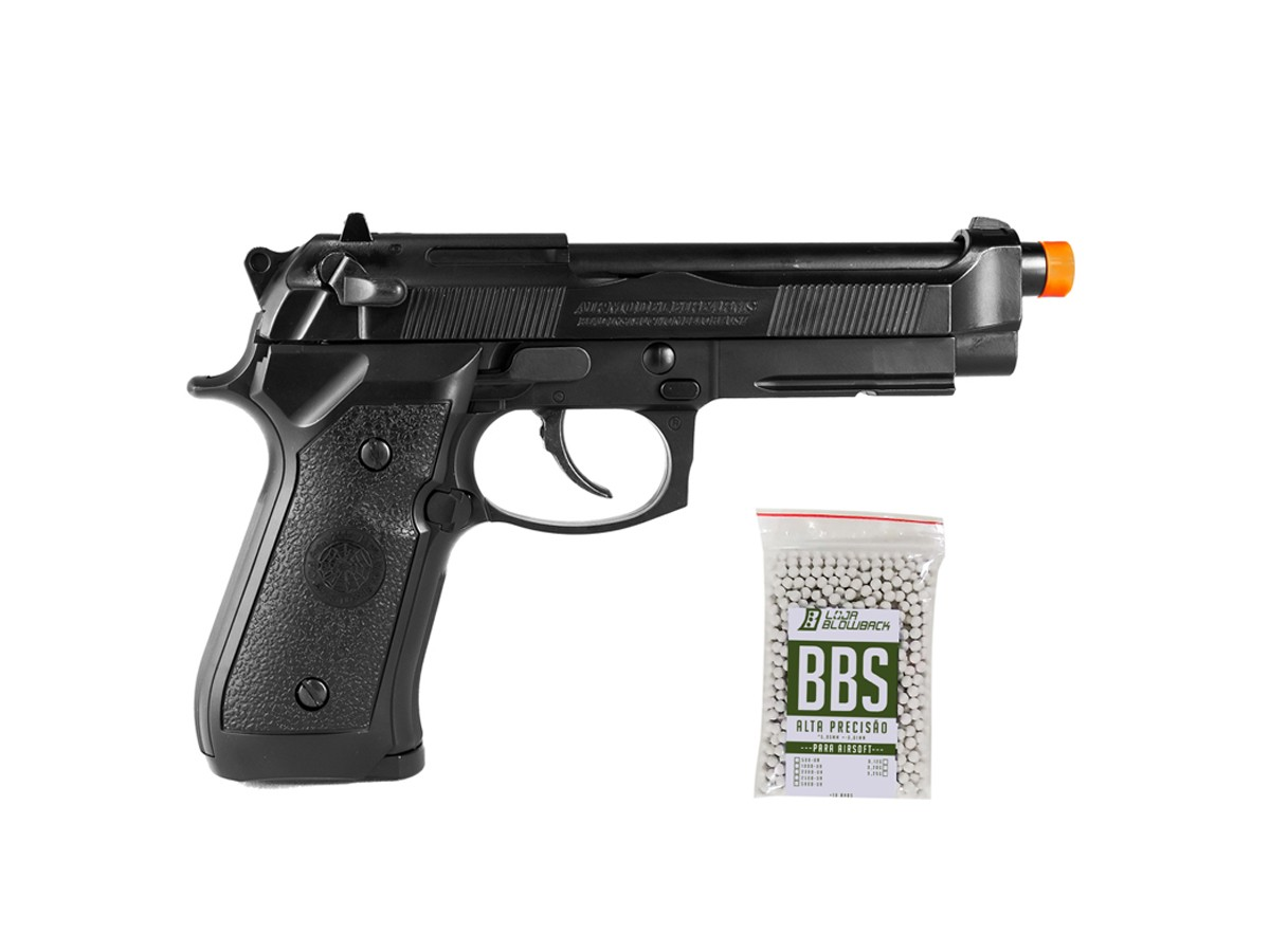 Pistola De Airsoft HFC PT92 GBB Blowback 6mm + 1000 Bbs