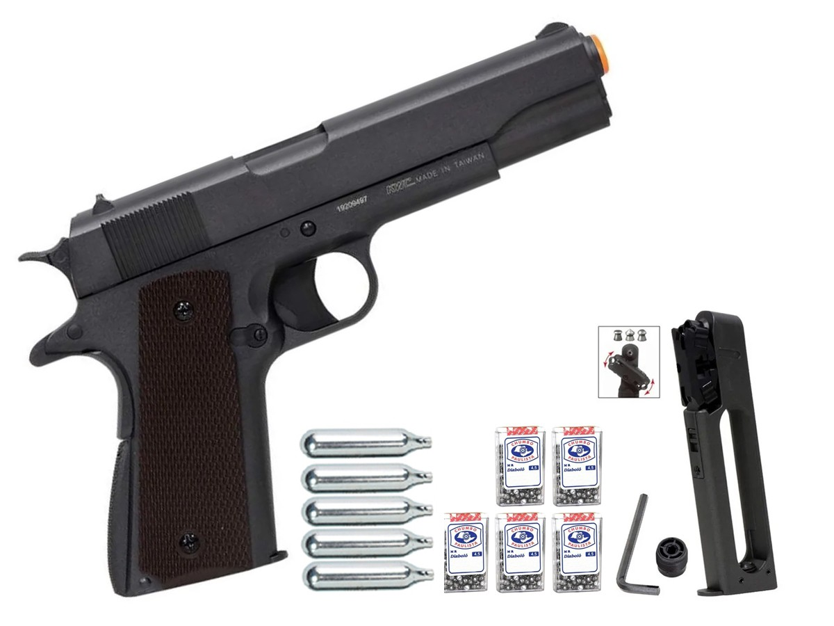 Pistola De Chumbinho Co2 1911 Airgun Pressão Tipo Carabina + Kit 1