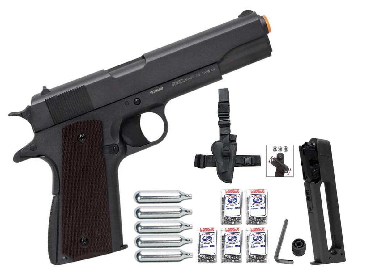 Pistola De Chumbinho Co2 1911 Airgun Pressão Tipo Carabina + Kit 3