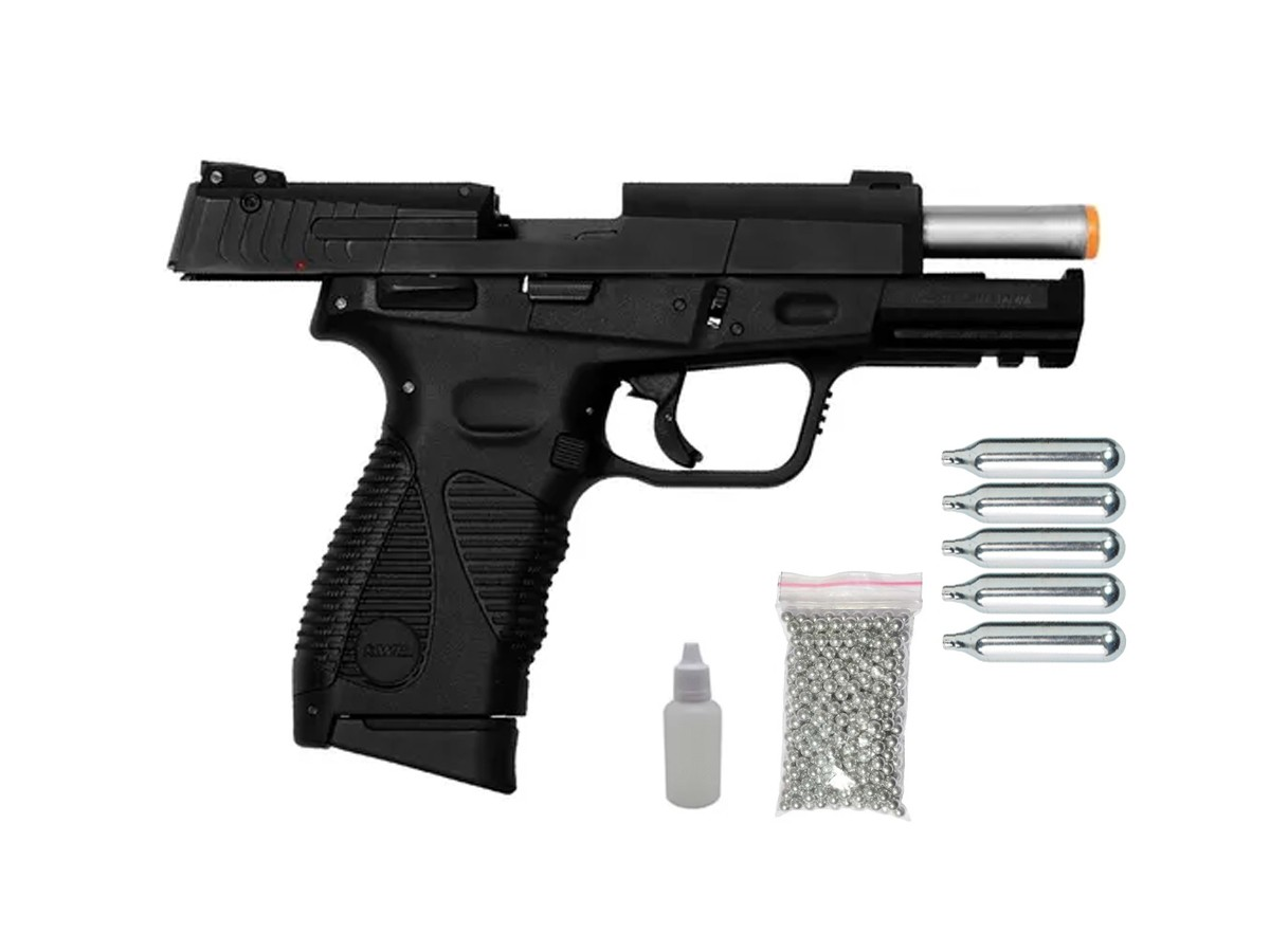 Pistola de Pressão 24/7 KWC Slide Metal Co2 Blowback 4.5mm + 5 Co2 + 500 esferas