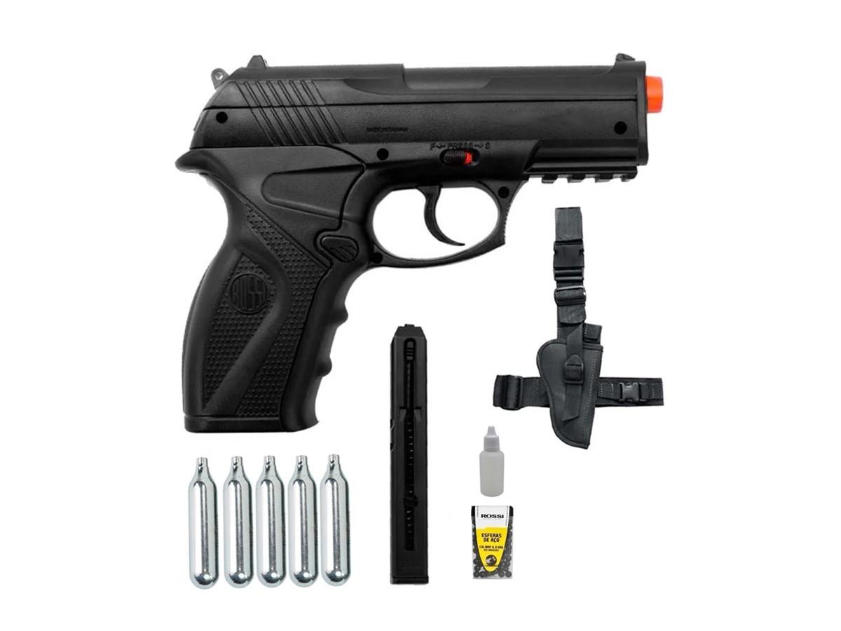 Pistola de Pressão Rossi C11 Co2 6mm esfera de aço + 5 Co2 + Coldre Robocop