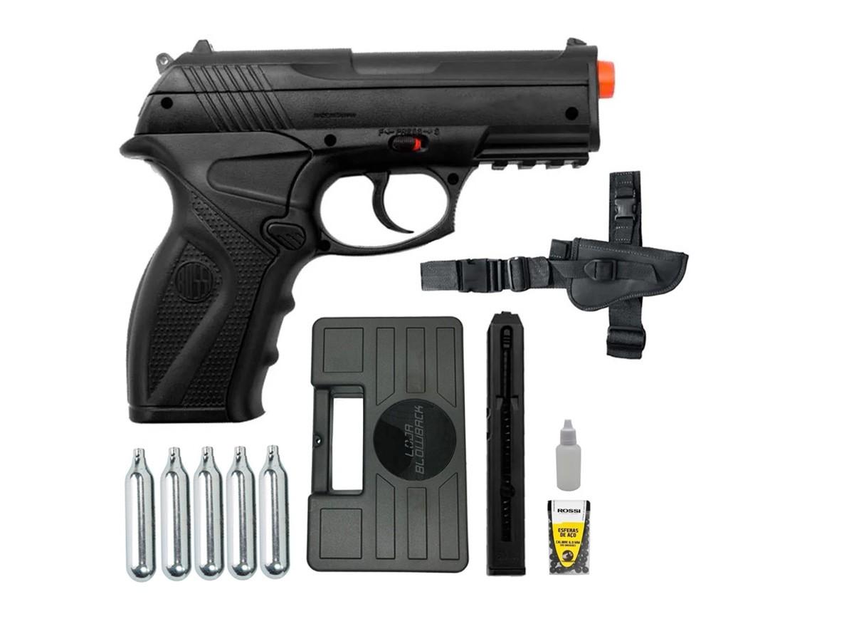 Pistola de Pressão Rossi C11 Co2 6mm esfera de aço + 5 Co2 + Maleta + Coldre Robocop