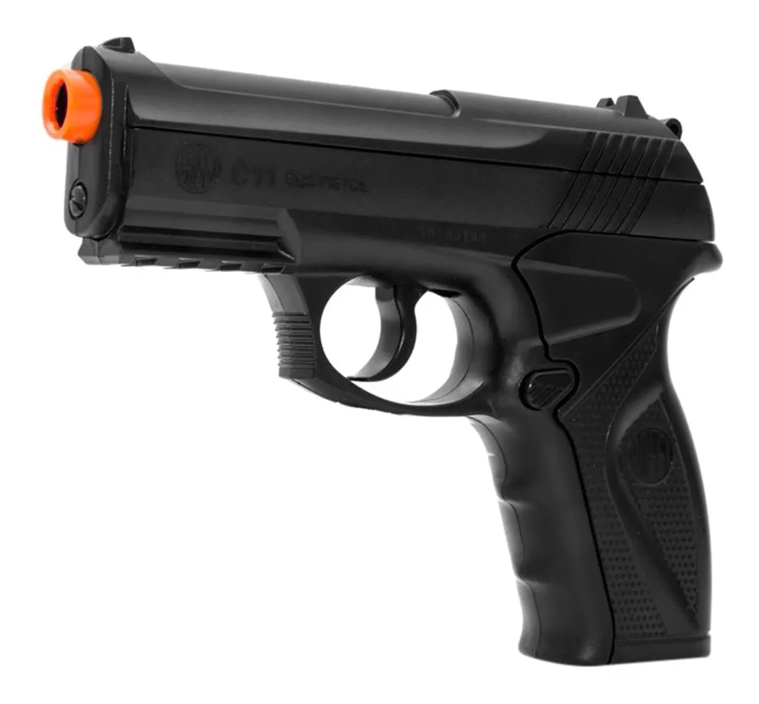 Pistola de Pressão Rossi C11 Co2 6mm esfera de aço + 5 Co2 + Maleta + Coldre Velado