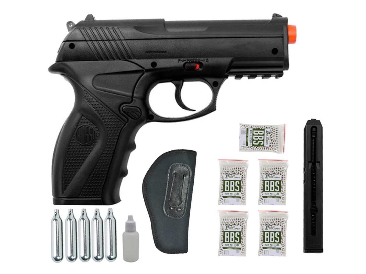 Pistola de Pressão Rossi C11 Gás Co2 Airsoft 6mm Kit 2