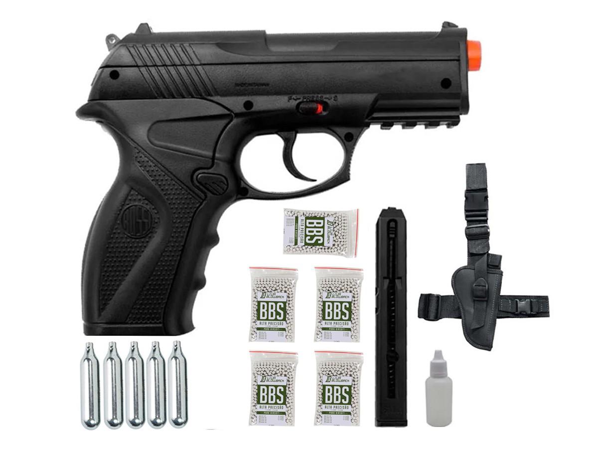 Pistola de Pressão Rossi C11 Gás Co2 Airsoft 6mm Kit 3
