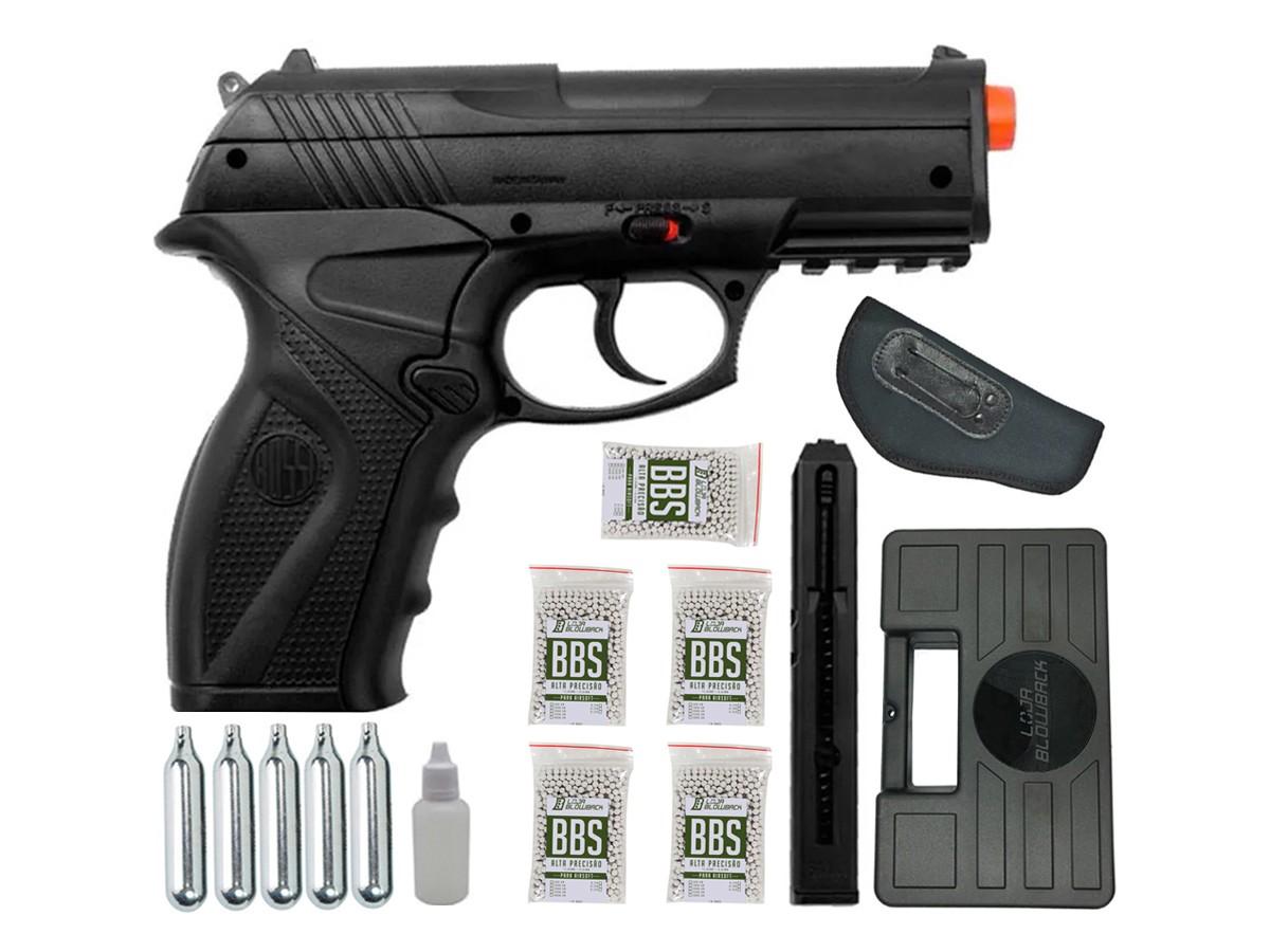 Pistola de Pressão Rossi C11 Gás Co2 Airsoft 6mm Kit 4