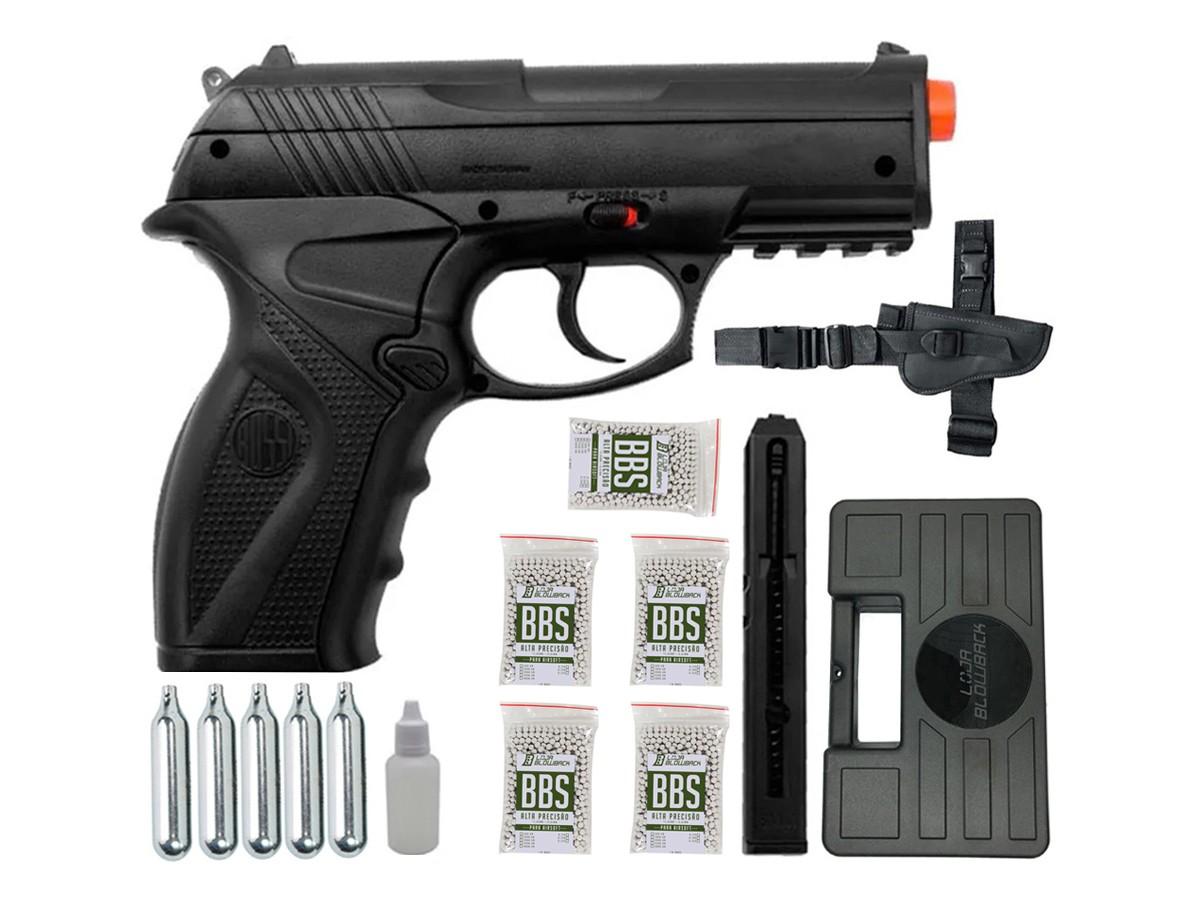 Pistola de Pressão Rossi C11 Gás Co2 Airsoft 6mm Kit 5