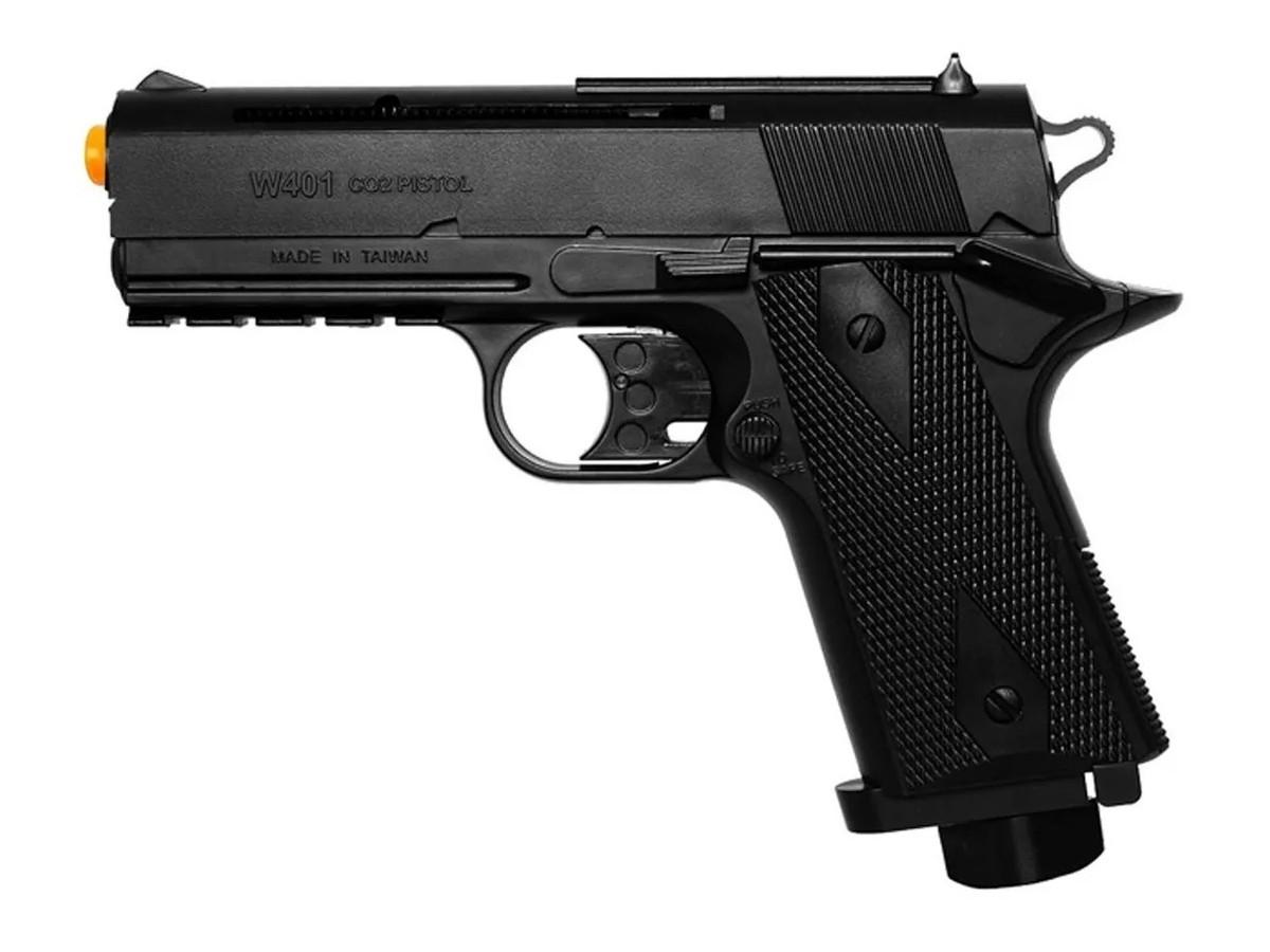 Pistola De Pressão Wingun W401 Esferas De Aço 4,5mm + 5 Co2 + 500 esferas + Coldre robocop