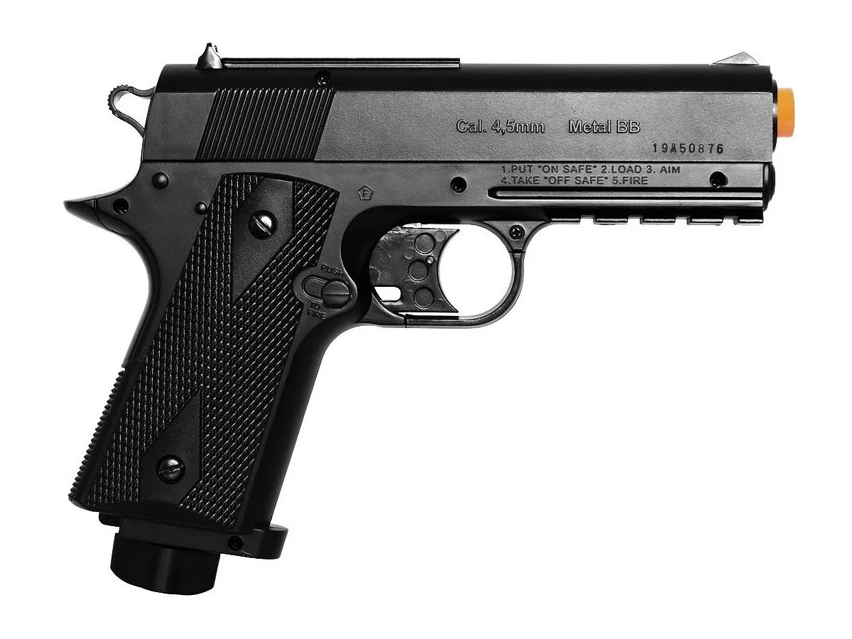 Pistola De Pressão Wingun W401 Esferas De Aço 4,5mm + 5 Co2 + 500 esferas + Coldre + Maleta