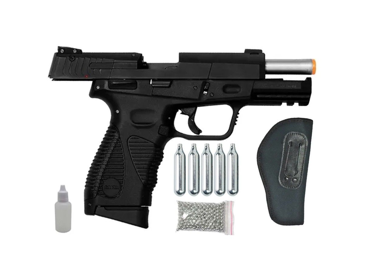 Pistola de Pressão 24/7 KWC Slide Metal Co2 Blowback 4.5mm + 5 Co2 + 500 esferas + Coldre velado