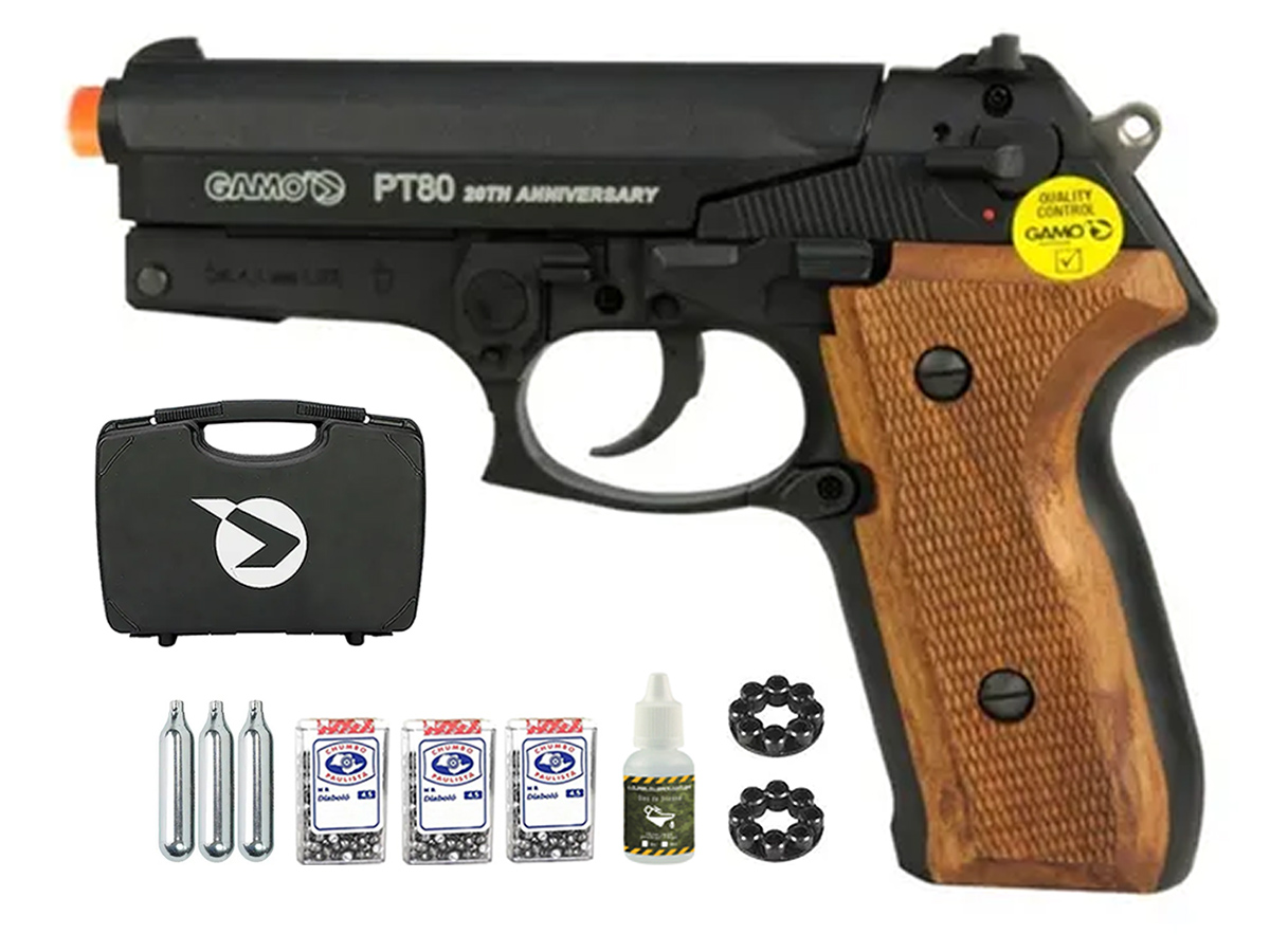 Pistola Pressão Co2 Gamo Pt-80 Limitada Chumbinho 4.5mm Kit1