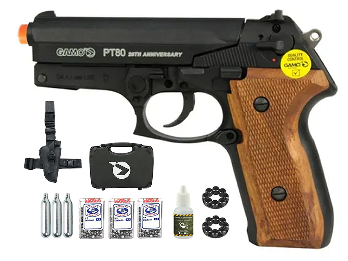 Pistola Pressão Co2 Gamo Pt-80 Limitada Chumbinho 4.5mm Kit3