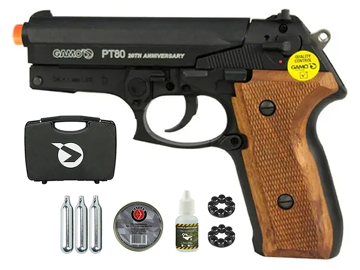 Pistola Pressão Co2 Gamo Pt-80 Limitada Chumbinho 4.5mm Kit4