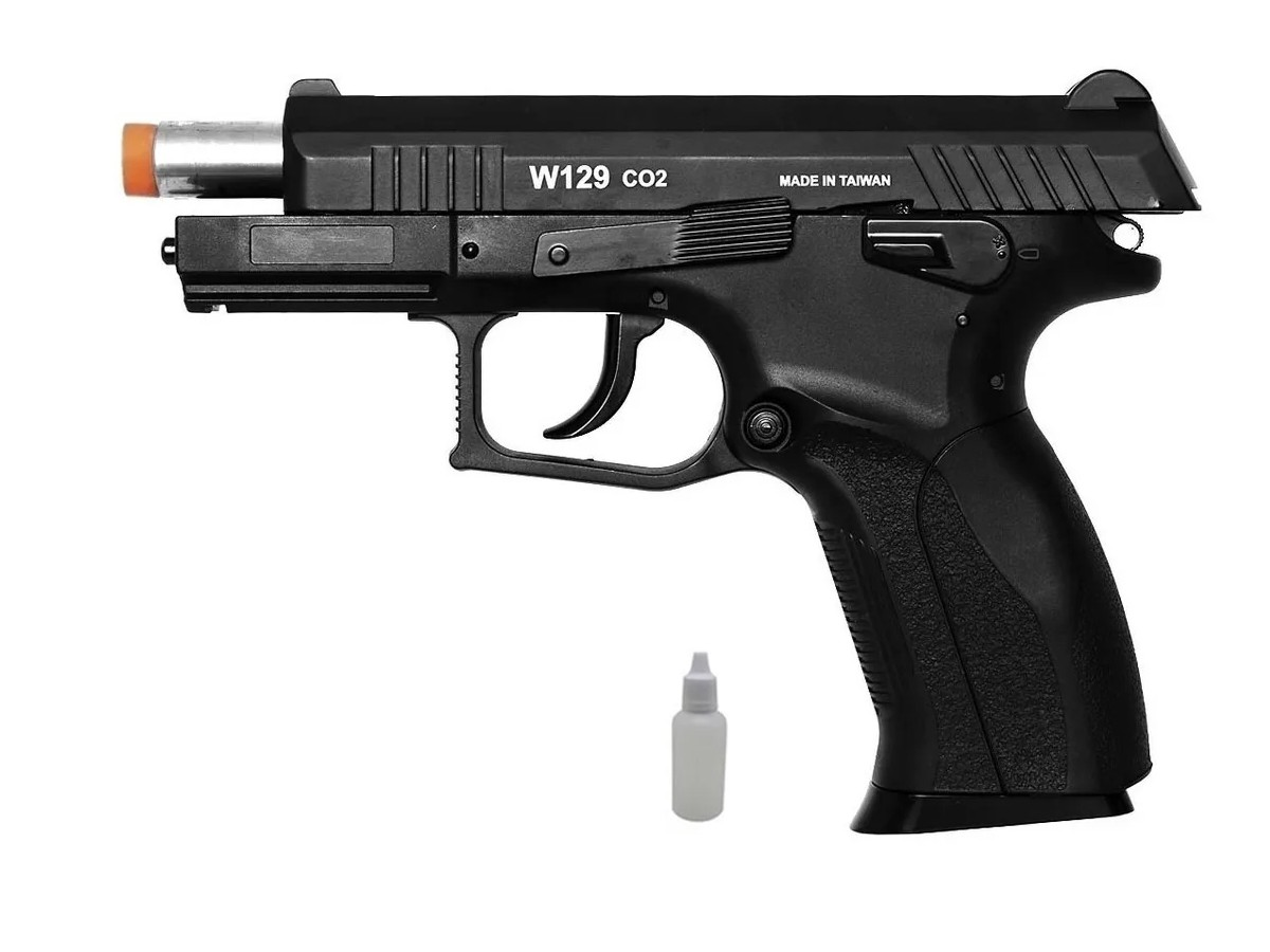 Pistola de Pressão Wingun W129 Slide Metal Co2 Airgun 4.5mm
