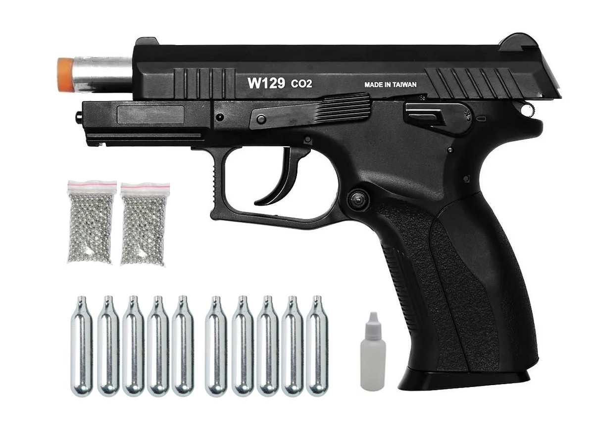 Pistola Pressão Wingun W129 Slide Metal Co2 Airgun 4.5mm K2