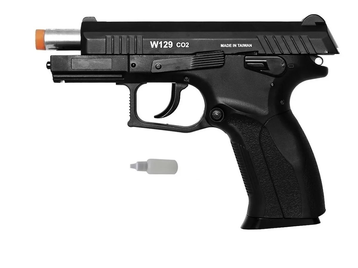 Pistola Pressão Wingun W129 Slide Metal Co2 Airgun 4.5mm K2