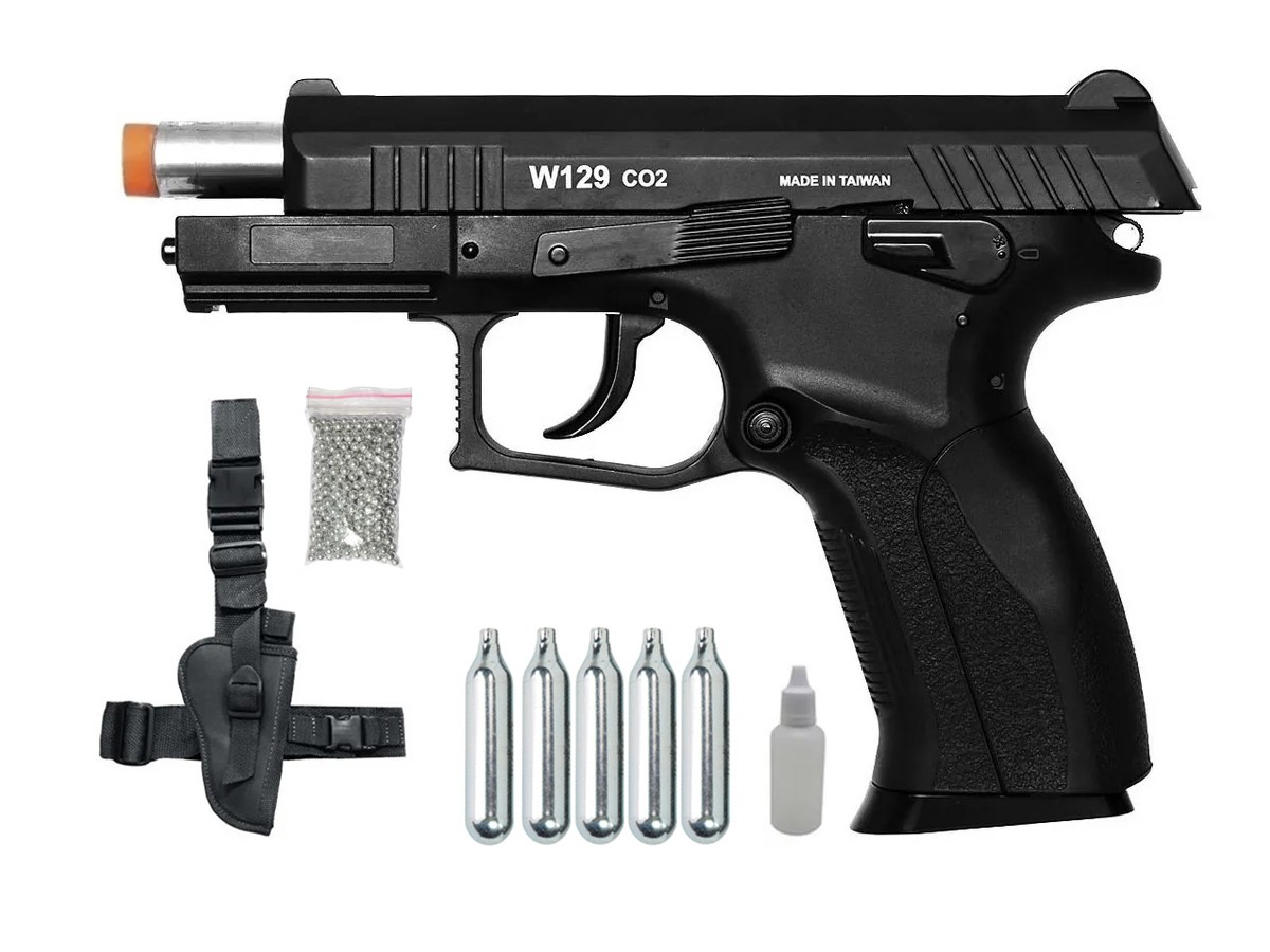 Pistola Pressão Wingun W129 Slide Metal Co2 Airgun 4.5mm K4