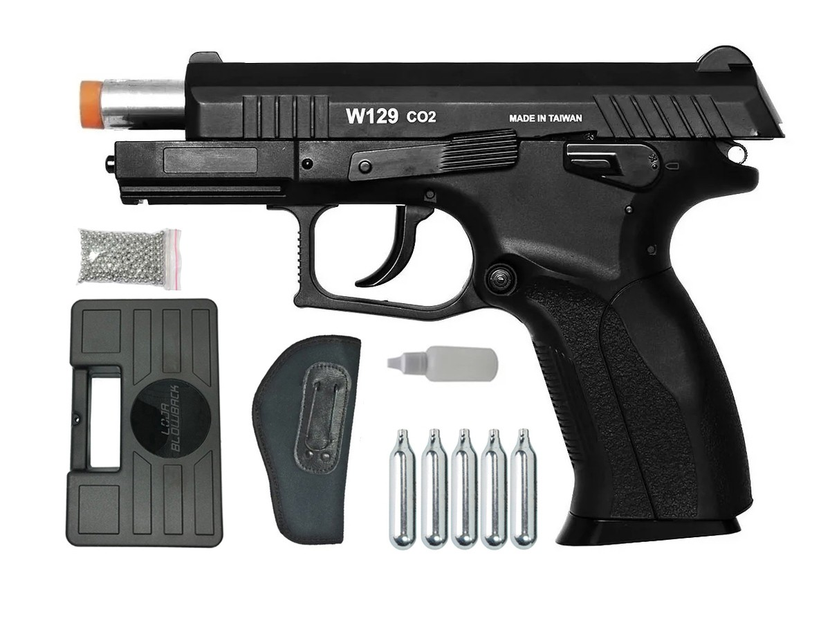 Pistola Pressão Wingun W129 Slide Metal Co2 Airgun 4.5mm K6