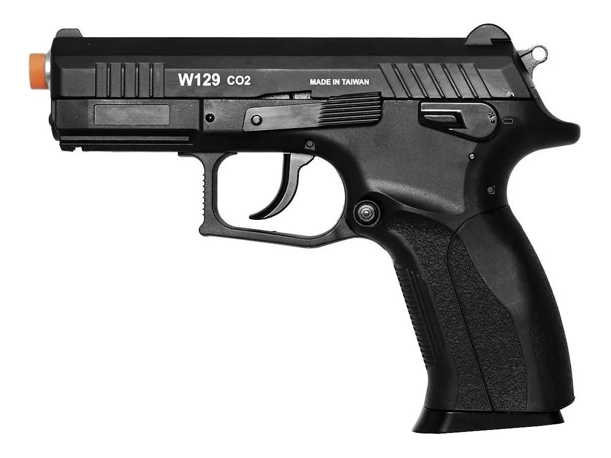 Pistola Pressão Wingun W129 Slide Metal Co2 Airgun 4.5mm K6