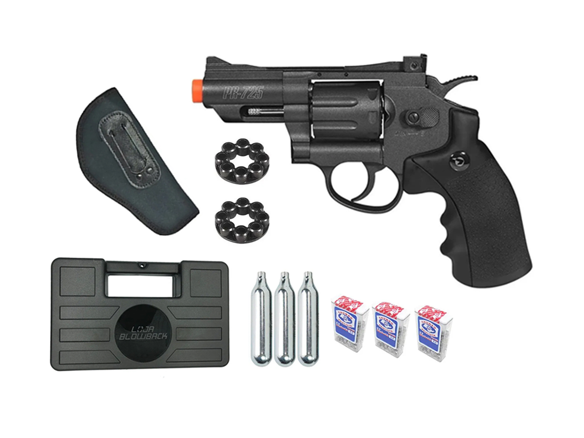 Revolver Pressão Co2 Chumbinho Gamo Full Metal 4.5mm Kit 10