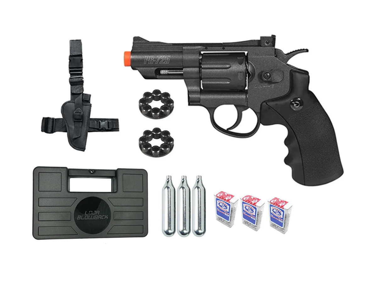 Revolver Pressão Co2 Chumbinho Gamo Full Metal 4.5mm Kit 11