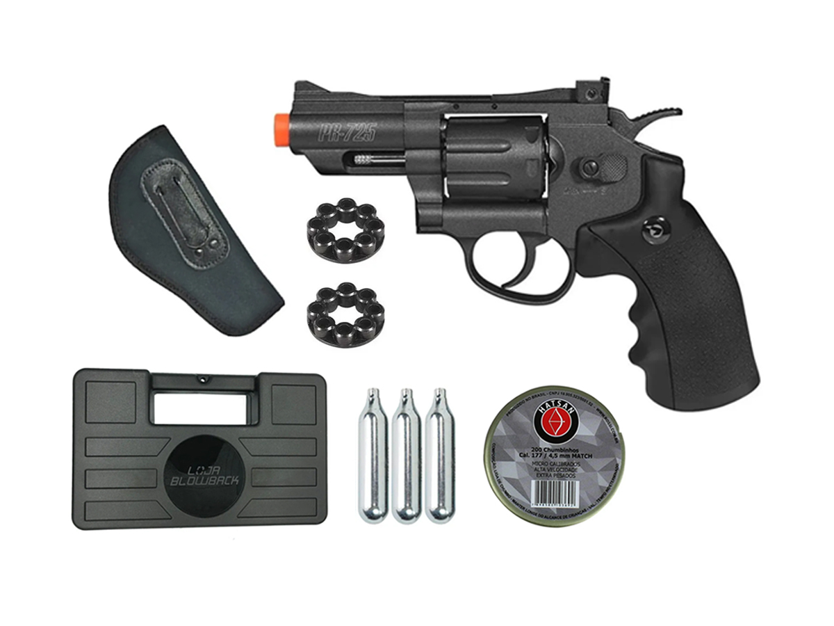 Revolver Pressão Co2 Chumbinho Gamo Full Metal 4.5mm Kit 12