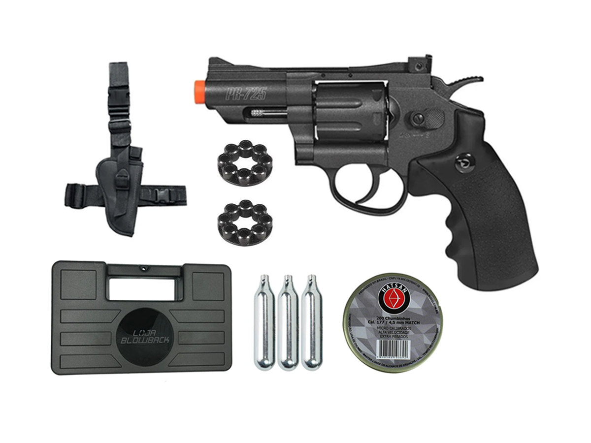 Revolver Pressão Co2 Chumbinho Gamo Full Metal 4.5mm Kit 13
