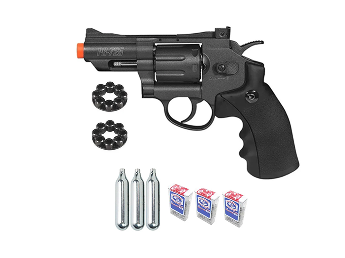 Revolver Pressão Co2 Chumbinho Gamo Full Metal 4.5mm Kit 1